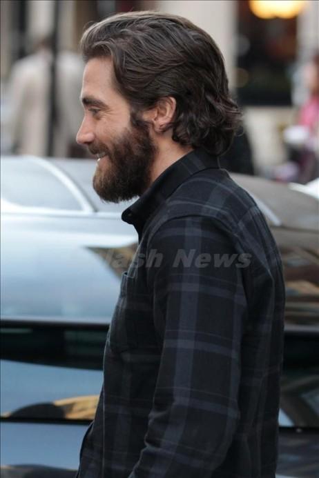 Actor Jake Gyllenhaal leaving BBC Radio 1 studios in London